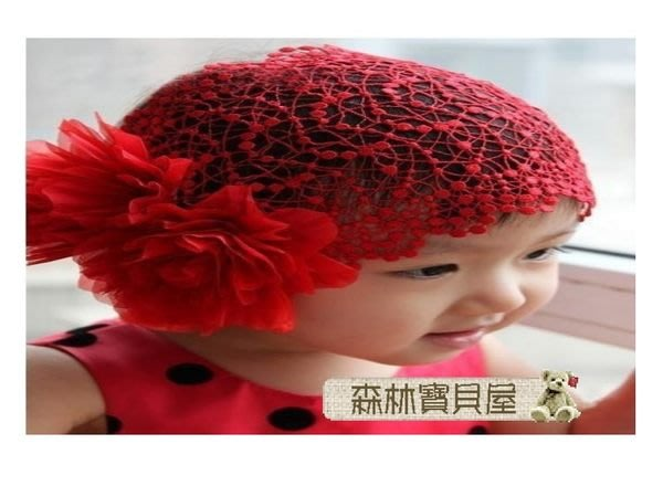 森林寶貝屋~韓款~兒童兩朵花大網格髮帶~兒童髮飾~幼兒大花髮帶~個性寶寶頭帶~拍照必備~ 2色可挑