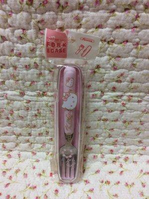 Sanrio hello kitty 花朵粉色盒裝叉子~日本製~收藏出清