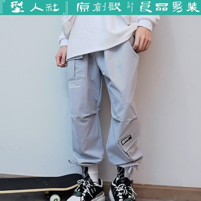 『型人社』男裝903-175日系 復古 街頭機能工裝 多口袋 字母印花 男士休閒褲 直筒褲 工裝褲 寬鬆男長褲