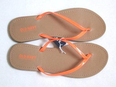 cocololo小舖:Old Navy 大女孩橘色亮面帶人字拖鞋 (5號) (513658) ~全新正品