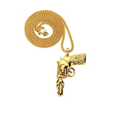 【Result】Revolver Necklace Hiphop 左輪手槍 金項鍊 Hiphop Tupac