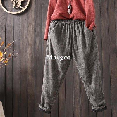 [Margot]時尚原創 提花棉麻夾棉棉褲 2018冬季松緊腰口袋加厚寬大碼寬松褲