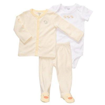 【Nichole's歐美進口優質童裝】Carter's黃色小鴨短袖包屁衣+長袖外套+包腳長褲 三件組 彌月/生日