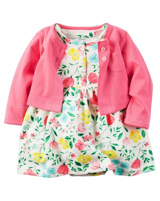 【Carters】卡特 美國正品 美麗碎花短袖洋裝(包屁連身洋裝)+珊瑚紅小外套 兩件組套裝