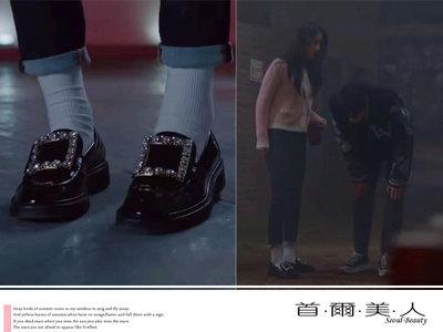 首爾美人✅RV方釦水鑽厚底真皮漆皮小皮鞋韓劇女神降臨任朱靜文佳煐❤