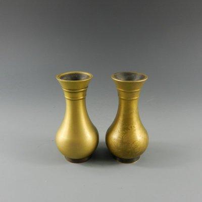 百寶軒 民間收藏品民國銅器花瓶一對古玩陳設擺件把玩 ZK2076