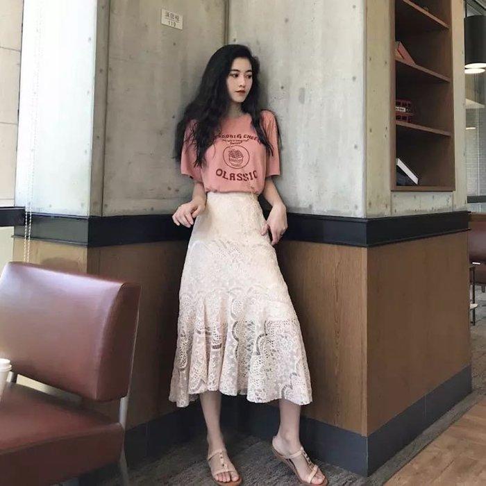 韓版氣質百搭魚尾裙蕾絲長裙