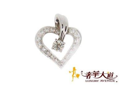 *奢華大道國際精品*【J0295】HEARTS ON FIRE 小愛心鑽圈單鑽項墜