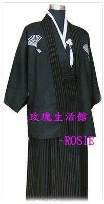 【玫瑰生活館】~傳統日本和服~男士和服 ,武士服,男和服,cosplay動漫裝~黑條紋裙 :