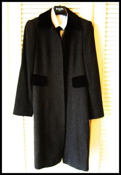 【PRADA】深棕淺格紋羊毛天鵝絨領單排牛角扣公主風洋裝式大衣