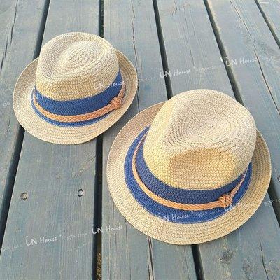 IN House*🇹🇼現貨 🇰🇷親子 兒童 男女 防曬 英倫 爵士 禮帽 草帽 編織 遮陽帽 帽子