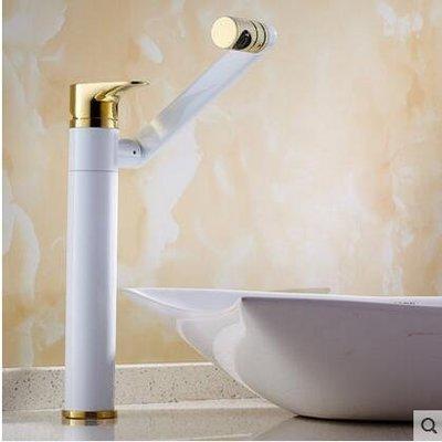 【優上】歐式全銅面盆冷熱水龍頭可360度旋轉臉盆龍頭白加金加高款