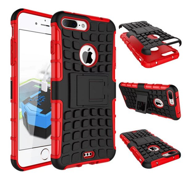 蘋果 iPhone7 plus 手機殼 輪胎紋 保護殼 iPhone8 Plus iPhone5C 全包 防摔 支架 硬殼 │檸檬3C