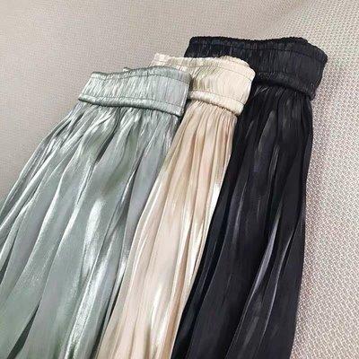金屬光澤 彈性腰圍過膝裙 A字裙 四季百搭裙 飄逸裙 |iBeauty|