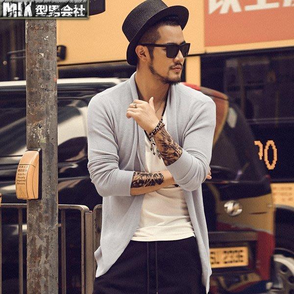 【MIX 型男會社】超帥歐美男士 XNHS150 秋裝新款時尚百搭薄款外套無扣開衫毛衣保暖長袖針織衫