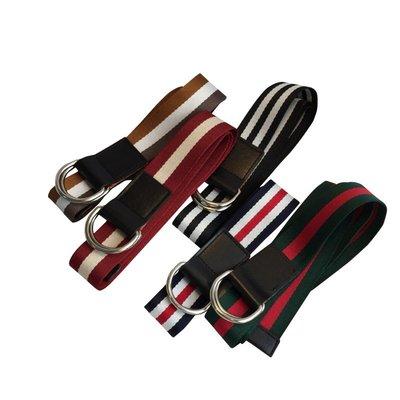 GUCCI同款 G牌配色 現貨 D字型環 歐美一線精品  綠紅綠 經典配色 皮帶 帆布皮帶 男女適用