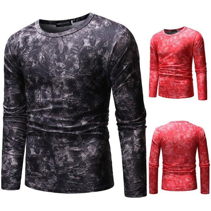 『潮范』  N4 外貿鏤空3D漸變圖案T恤 長袖T恤 嘻哈T恤 撞色T恤 打底衫