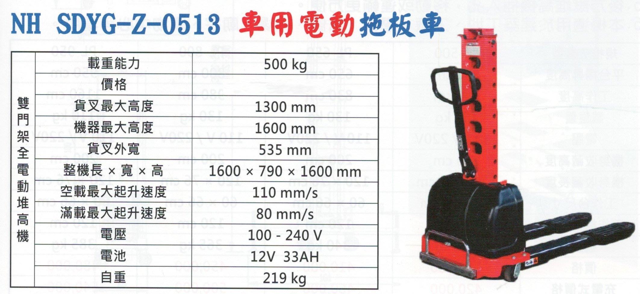 車用電動拖板車 雙門架全電動堆高機 NH SDYG-Z-0513