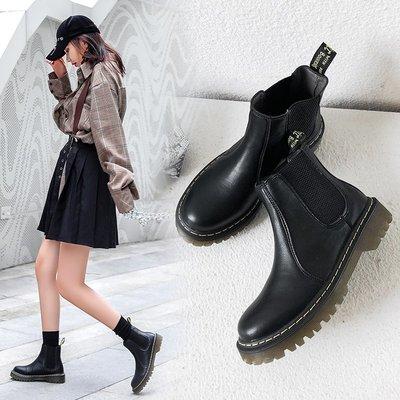 Venaessa韓國現貨女鞋2020新款圓頭馬丁靴女秋冬季百搭加絨英倫風厚底平底切爾西短靴