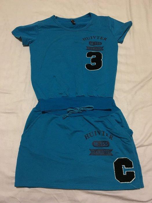 二手甜美運動風褲裙套裝 英文字母數字 休閒套裝