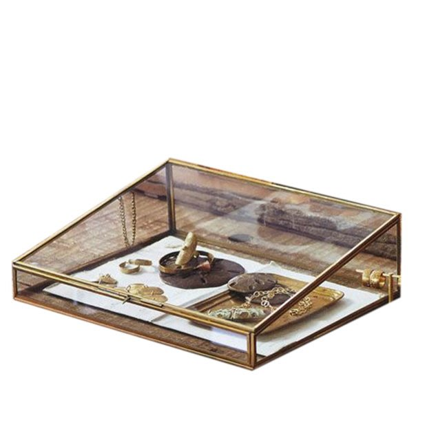 [ Atelier Smile ] 鄉村雜貨 復古歐式 手工銅製梯形 玻璃展示首飾盒 收納盒 # 30 (現+預)