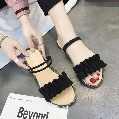 ZIHOPE 網紅一鞋兩穿羅馬涼鞋女仙女風INS學生百搭2019夏季新款平底拖鞋ZI812