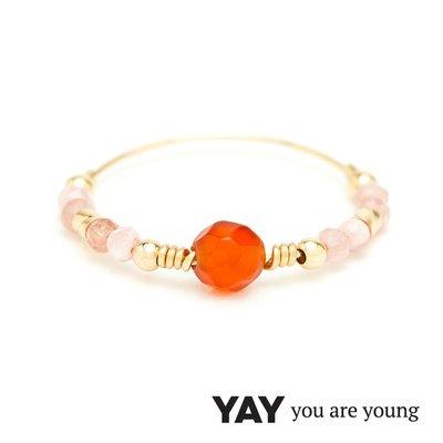 法國品牌YAY You Are Young台北ShopSmart直營店 Cleo 玫瑰粉玉石戒指 雙色款 金色