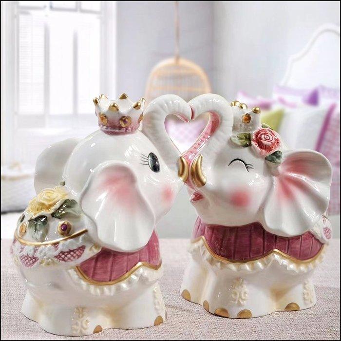 維多利亞風 白色玫瑰花招財大象情侶擺飾品 陶瓷親親大象藝品一對 浪漫蕾絲風花卉擺件居家裝飾品入厝新婚禮品【歐舍傢居】