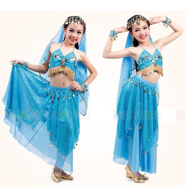 5Cgo【鴿樓】會員有優惠 45406772786 兒童肚皮舞服裝女童印度舞蹈練功服 兒童肚皮舞演出服套裝 兒童舞衣