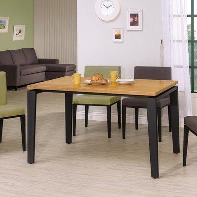 【HB417-01】馬丁4.3尺全實木面黑腳餐桌
