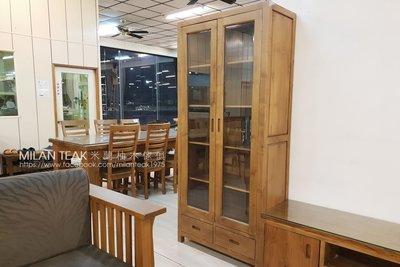 【米蘭柚木傢俱】全柚木書櫃、展示櫃、收納櫃 - 厚料、兩門、二抽『全館批發價活動!』