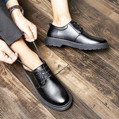 皮鞋 秋季男士皮鞋休閒鞋真皮圓頭系帶英倫韓版潮流男鞋黑色馬丁鞋子男