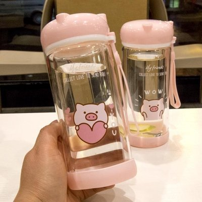 可愛卡通小豬水杯雙層玻璃杯耐熱防燙便攜小號杯子學生兒童男女全