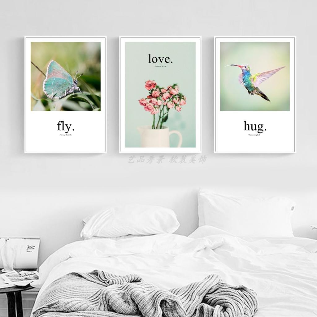 ins北歐現代風景飛鳥花卉蝴蝶裝飾畫畫芯客廳餐廳掛畫(4款可選)