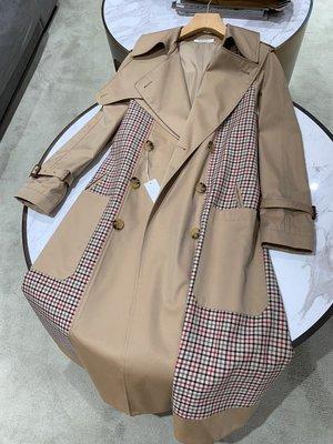 《巴黎拜金女》重磅色織精紡澳毛拼格子風衣外套
