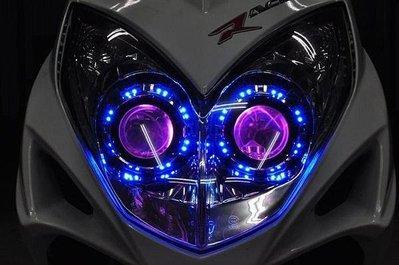 KYMCO 雷霆 RACING 遠近魚眼HID大燈模組改裝 PVC LED光圈 惡魔眼 電鍍飾圈 H1 40W55W可