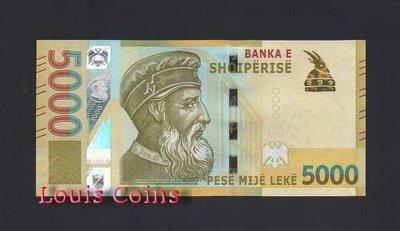 【Louis Coins】B245-ALBANIA--2017阿爾巴尼亞紙幣5.000 Leke
