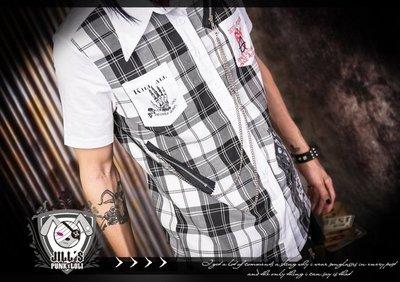 Oo吉兒oO 學院風蘇格蘭格紋襯衫 付銀鍊~白 倫敦炸彈【JGGA282W】