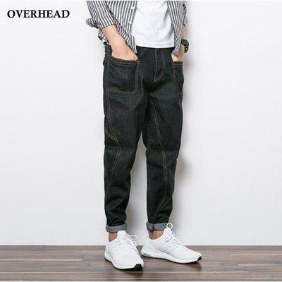 當日出貨【OVERHEAD】水洗原色單寧 立體口袋版 低腰垮褲 窄管褲  無彈重磅 牛仔褲 哈倫褲