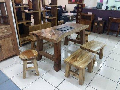 (新北八里區專用)130公分桌+4短凳  樟木 實木 泡茶桌 茶几 上穩家具  20805A01