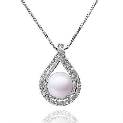 NATELA 歐美設計 優雅氣質鍍金 珍珠鑲鑽項鍊  閃耀鋯石 鑲鑽  生日禮物 情人節 飾品 優惠特價 附禮盒 拭銀布