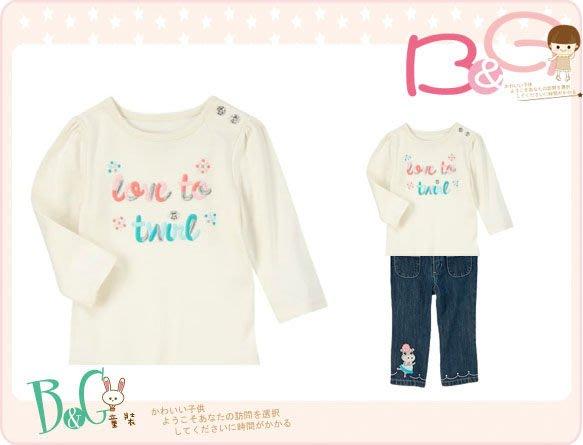 【B& G童裝】正品美國進口GYMBOREE Twirly Girl Tee 彩色字樣長袖上衣3,4yrs