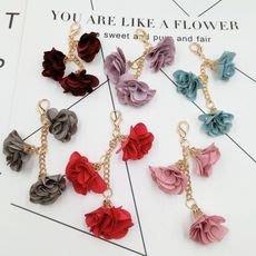 鑰匙圈配件吊飾----花朵金鍊掛飾鑰匙扣