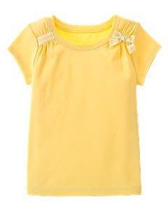 (((出清特價))) 全新 ~ GYMBOREE 黃色緞帶蝴蝶結短袖棉T (10yrs)