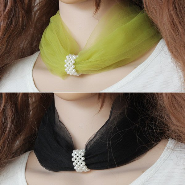 福福百貨~仙女仿珍珠項鍊頸鍊頸帶頸飾品春秋夏季防曬護頸椎網紗蕾絲圍脖套~