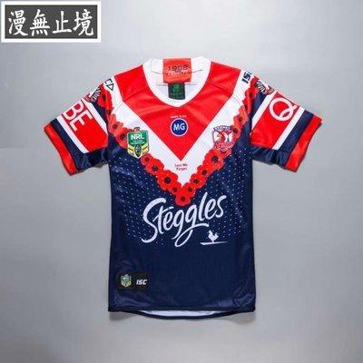 漫無止境 wwej 18-19澳大利亞雄雞紀念版橄欖球服Sydney Roosters rugby橄欖球衣