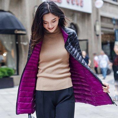 (四季潮)羽絨服女輕薄中長款立領雙面穿胖mm大碼外套韓版修身顯瘦兩面穿潮爆款絨絨