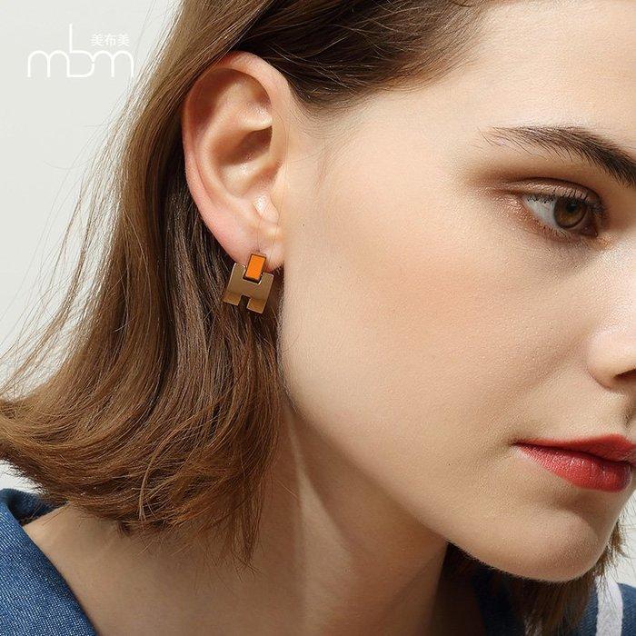 FEI日韓代購~歐美時尚氣質簡約字母H油滴立體鍍玫瑰金色鈦鋼耳釘夸張耳環女