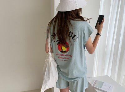 【Miss_艾薇卡】韓國進口 代購 [T4287】N9  率性簡約圓領印花T恤+短褲(套裝)  2色 現貨+預購