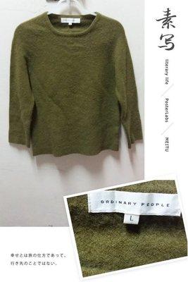 [ORDINARY PEOPLE] 女子 都會時尚 圓領羊毛衣 七分袖上衣-橄欖綠  羊毛  保暧